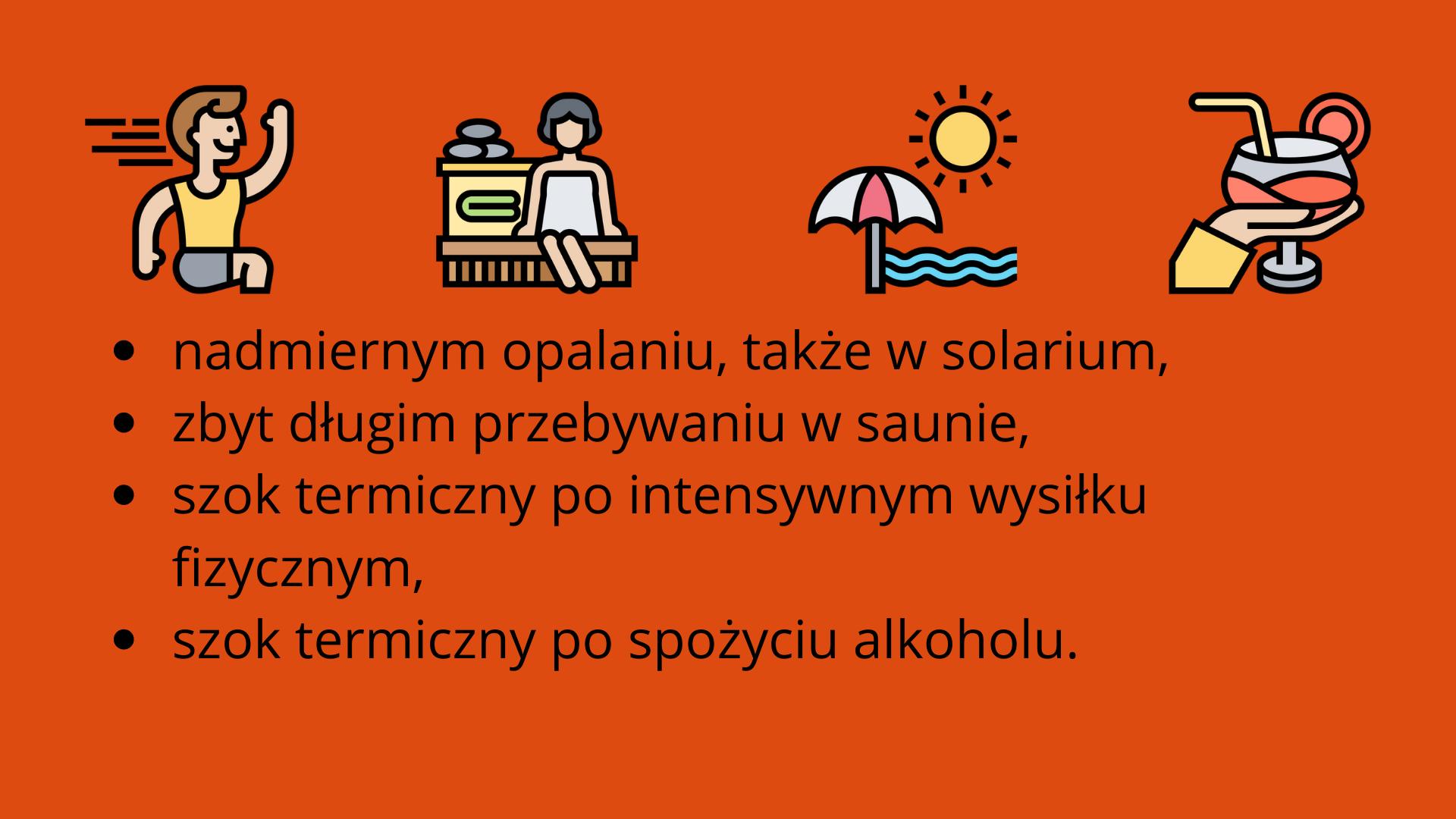 Szok termiczny ikony przedstawiają przyczyny szoku termicznego