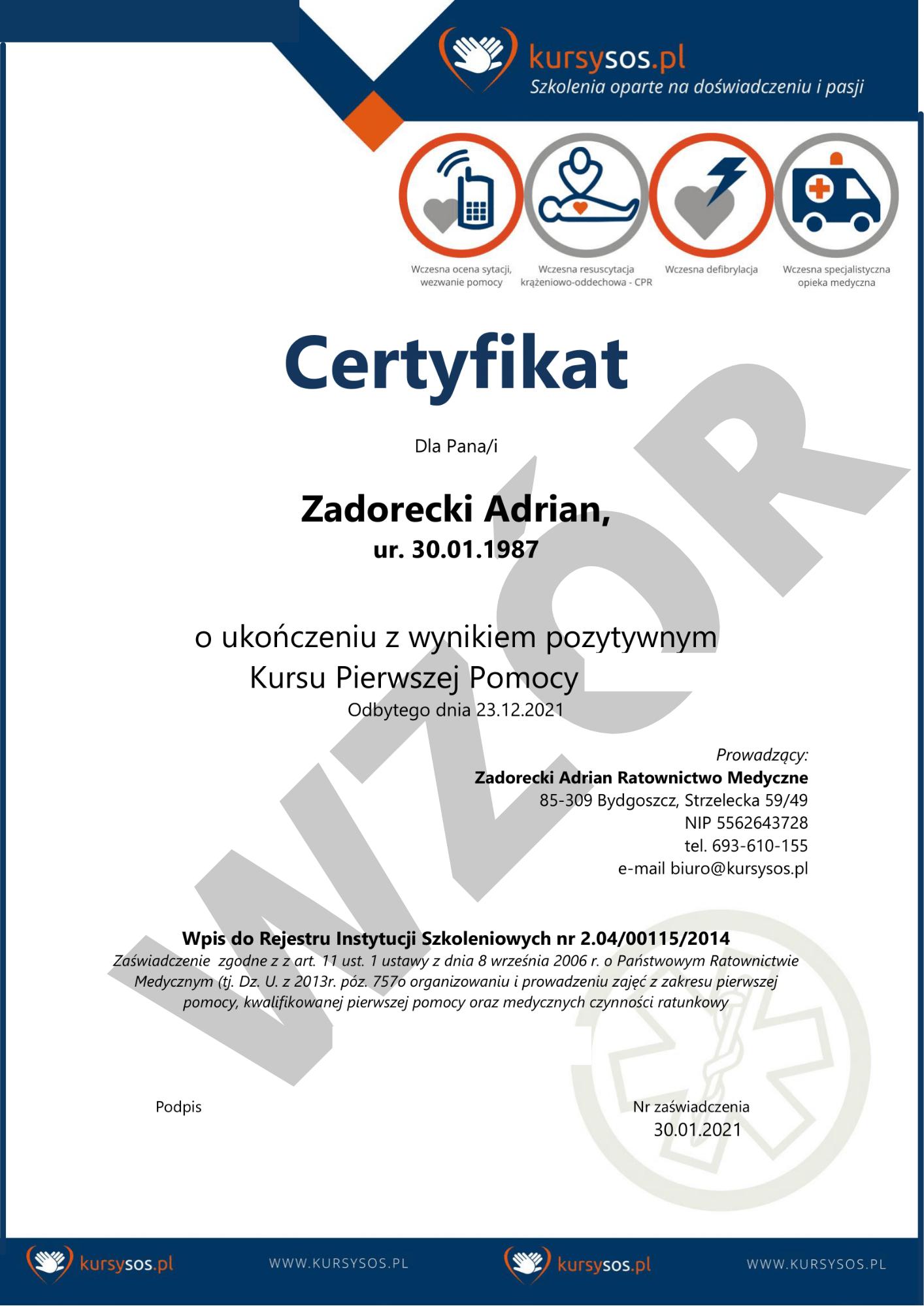 bezpłatny certyfikat pierwsza pomoc